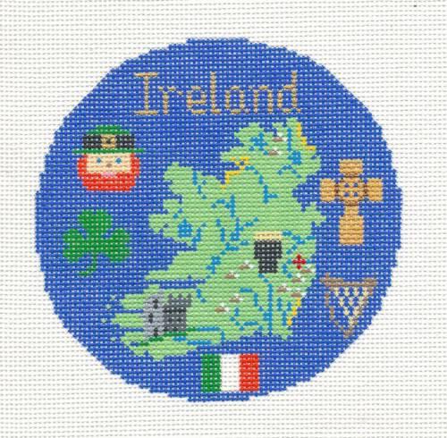 "Needlepoint Canvas by Silver Needle IRELAND Irish Ornament handpainted 4.25/"" Rd"