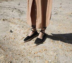 DOEN Salvadore Espadrilles Tie Up Black