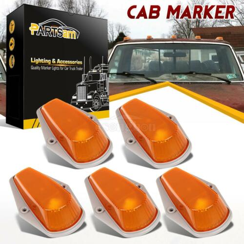 5pc Cab Marker Roof Clearance Light Amber Covers+Base Housing for 1973-1997 Ford
