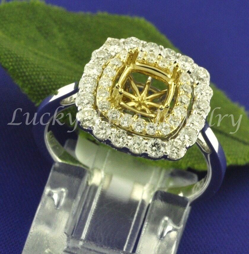 0.86 ct 18k White & Yellow gold Semi Mount Diamond Ring   setting  fits 6 mm-6.5
