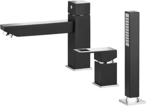3 Loch Armatur für die Badewanne Wannenarmatur Wannenrandarmatur bcz Schwarz