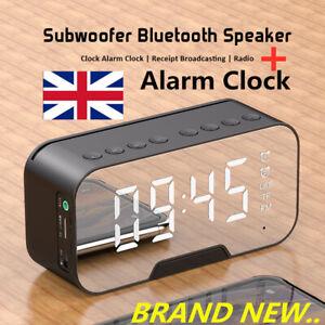 Portable-LED-Mirror-Digital-Alarm-Clock-Wireless-Bluetooth-Speakers-MP3-FM-Radio