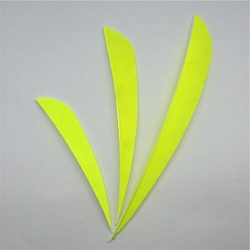 50PCS 5inch Fluorescent Yellow Parabolic Vanes Fletches Feathers Fletching RW LW
