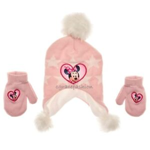 b075ee9f277 NWT Disney Minnie Mouse Baby Girl Winter Pink Fur Beanie Trapper Hat ...