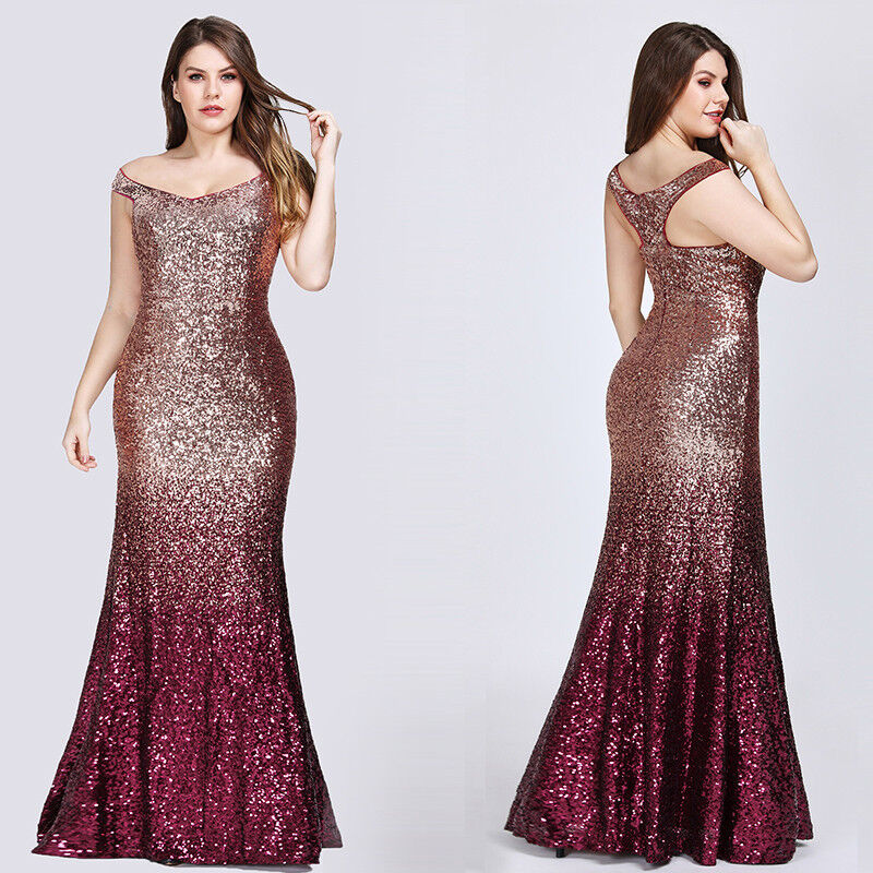 Ever-Pretty Plus Size Long Sequins Mermaid Party Gown Formal Evening Dress 08999