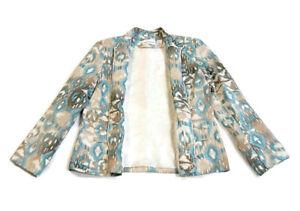 Alfred-Dunner-Women-039-s-Jacket-Blazer-Zip-Close-Pockets-Teal-Brown-Print-Size-12