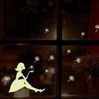 Glow In Dark Dandelion Girl Luminous Cartoon Kids Home Sticker DIY Wall Mural