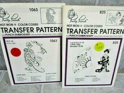 Pretty Punch Embroidery Hot Iron Transfer Patterns Lot of 2 Oriental Theme Asian