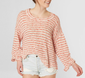FREE PEOPLE blueISH RED STRIPED ISLAND GIRL OVERSIZED HACCI TOP Sz S
