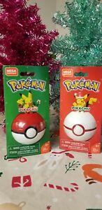 Mega-Construx-Pokemon-Lot-of-2-Holiday-Santa-amp-Candy-Cane-Pikachu-Free-Shipping