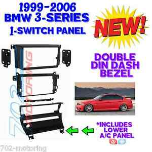 BMW-E46-DOUBLE-DIN-CAR-STEREO-RADIO-INSTALLATION-DASH-KIT-BEZEL-A-C-RELOCATION