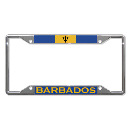 BARBADOS FLAG COUNTRY Metal License Plate Frame Tag Border Four Holes