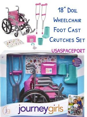 "Journey Girls Pink WHEELCHAIR CRUTCHES SET fits 18/"" American Girl Boy Dr CAST"