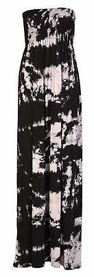 Womens Ladies Plus Size Printed Boob Tube Stretch Sheering Maxi Dress 8 TO  22