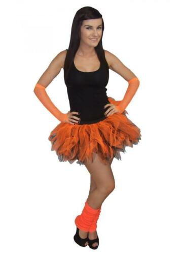 Neon Orange Black Tutu Legwarmers /& Gloves Halloween 80S Fancy Dress DISCO DANCE