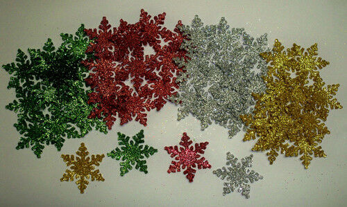 40 snowflakes sparkles 1 1/4 alpine classic colors glitter brillants