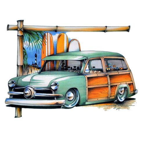 *1273 Surfer Vintage Tiki Surfing Surfschule Automotiv Car T-Shirt Kustom