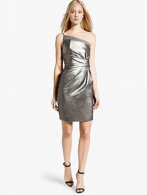 HALSTON HERITAGE Metallic Asymmetric Dress Silver