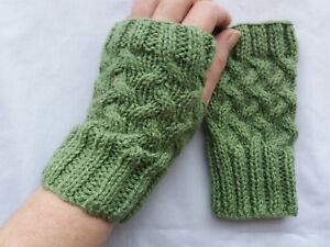 fcdee5ce44d Image is loading LADIES-hand-knitted-FINGERLESS-GLOVES-wrist-warmers-OLIVE-
