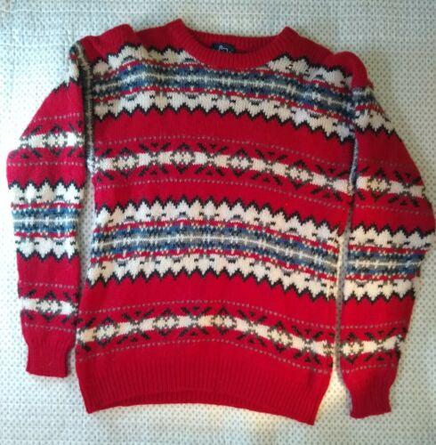 Vintage Woolrich Men's Ski Sweater Red White Zig Z