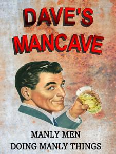 bar MANCAVE cadeau drôle pub vintage Free p/&p Personnalisé Man Cave sign rétro