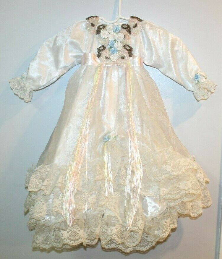 Beaded White Silky Vintage Little Girls Dress Pageant Retro Baby Toddler Floral