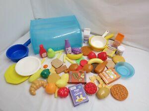 Kitchen Play Food 66 Pieces Preschool Bread Box Pots Ebay