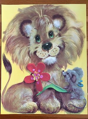 "Vtg Retro KIDS ART PRINT Happy Lion Flower Mouse Yellow Kitsch 60s 70s 14"" x 11"""