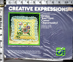 SEALED-1982-Creative-Expressions-Needlepoint-Kit-3822-Gingham-Garden-Pillow