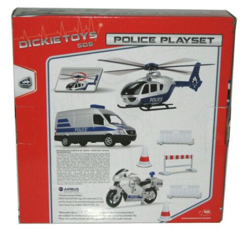 DICKIE Police Set of 3 freewheel DICKIE Polizei Set Fahrzeuge// Hubschrauber