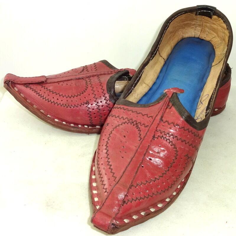Men's Leather Jutti Handmade Red Mojari Khussa Indian Punjabi US Style.