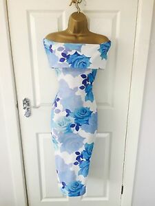 Blue-Floral-Evening-Rose-Bardot-Midi-Pencil-Bodycon-Stretch-Summer-Party-Dress