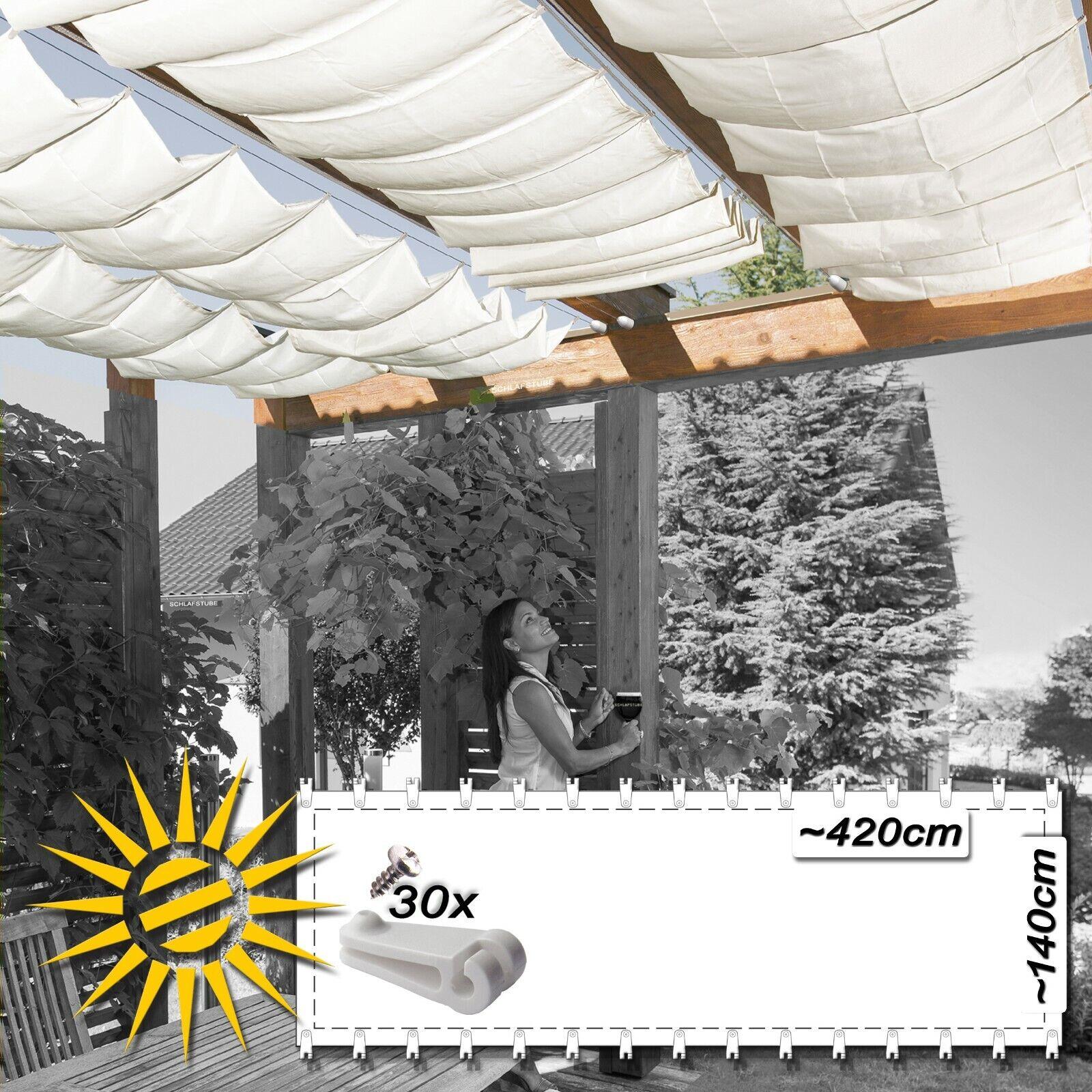 Toldo vela Weiss aprox. 420x140 cm 30 ganchos de ejecución projoección UV jardín de invierno siguiendo a los sujetos