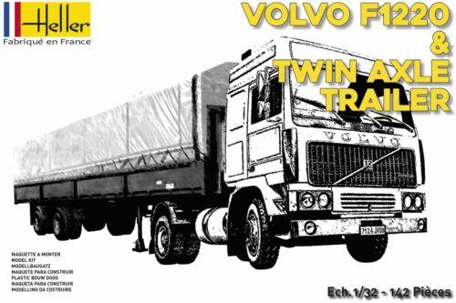 Heller 81703-1:32 VOLVO F12-20 Globetrotter /& Twin-Axle Semi trailer Neu