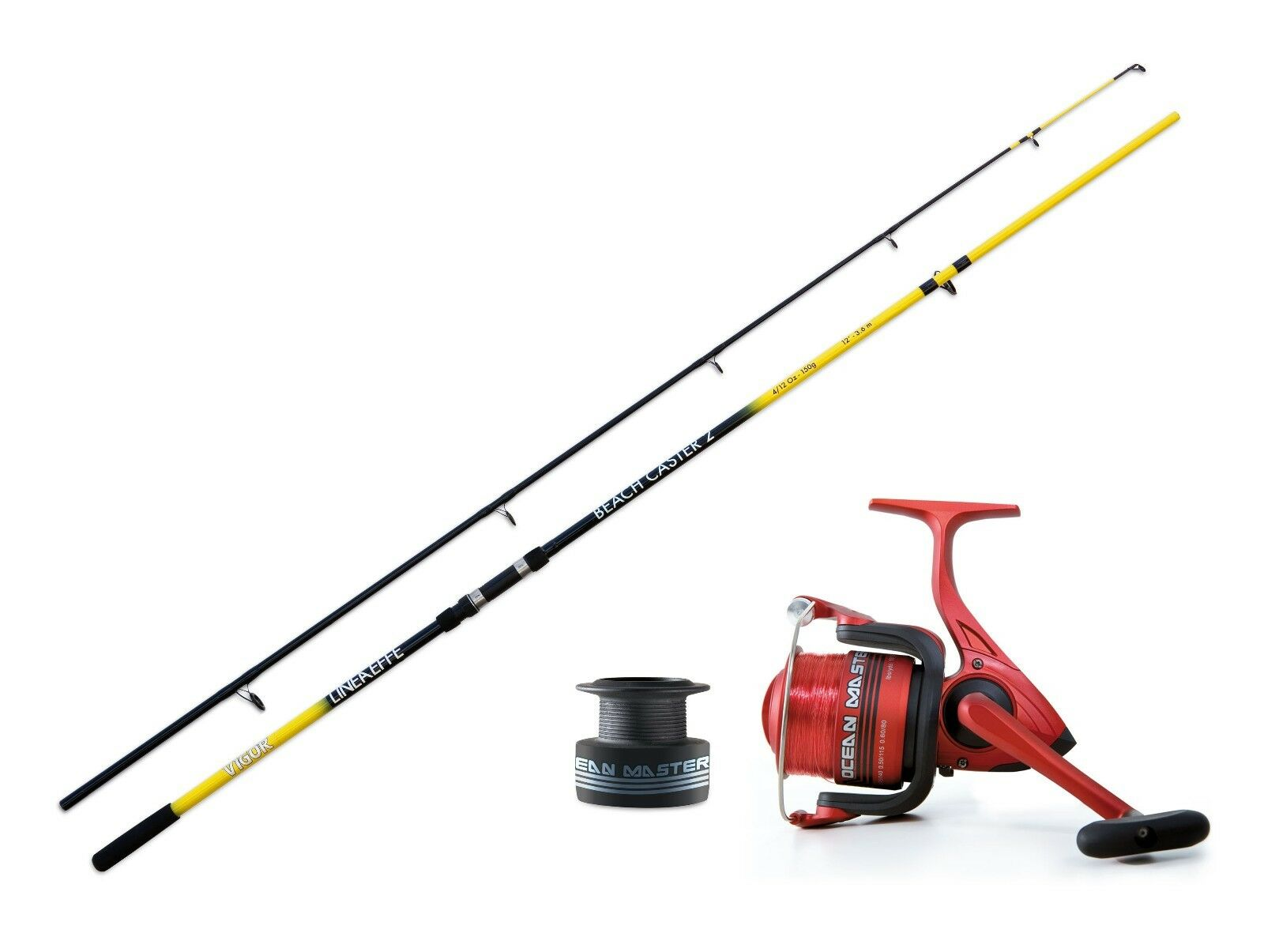 Lineaeffe 12ft Beachcaster rod & Ocean master 70FD + line Reel combo Sea fishing
