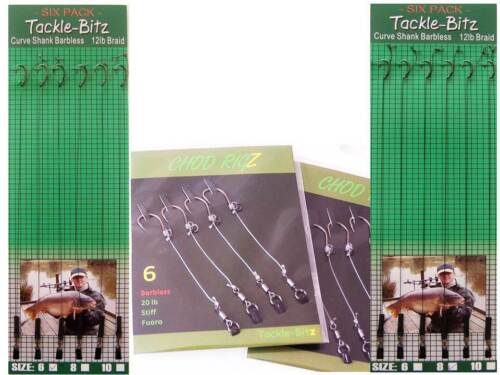12 Carp Hair rigs  /& 8 Fishing Tackle ReadyTied Chod Rigs for Weights Swivels