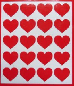 Sheet of 20 sticky love hearts weatherproof  stickers//car//van//window//decal RED