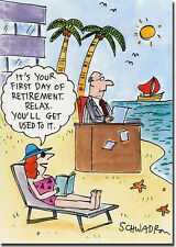 Desk on Beach Funny Retirement Card - Greeting Card by Oatmeal Studios