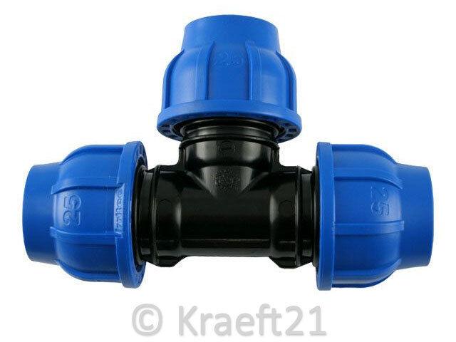 PE Rohr T-Stück Verschraubung Trinkwasser DVGW Klemmverbinder Klemmfitting