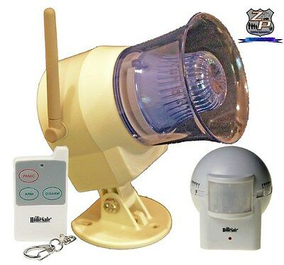 Wireless Outdoor Siren & Flashing Light, Remote Control, & Outdoor Motion Sensor