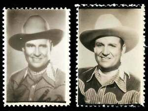 "USA Poster Stamps - Gene Autry ""The Singing Cowboy"" Photo-Stamps - 2 Different"