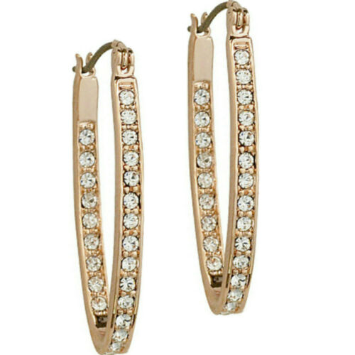 Clear CZ sparkly rose gold finish hoop earrings quality jewellery UK gift boxed