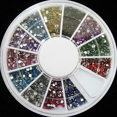 Glitter Rhinestone Faux Pearl FIMO Flower Nail Art Slice 3D Decoration With Case