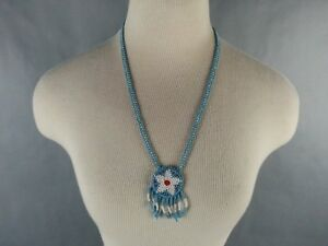 Vintage-American-Southwest-Beaded-Necklace-Souvenir-1970-039-s-1980-039-s-Star-Blue-Red