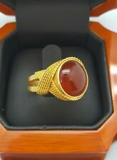 Estate  Cabochon Carnelian Fine solitaire ring set in 18k yellow gold sz 7.5
