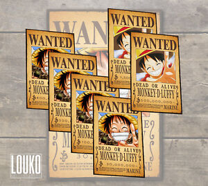 Details About One Piece Wanted Poster Monkey D Luffy 300000000 Free Shipping Worldwide