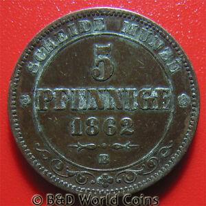 1862-B-SAXONY-ALBERTINE-5-PFENNIG-RARE-GERMAN-STATES-GERMANY-COIN-COPPER-25mm