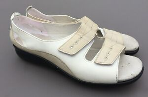 Hotter-Florence-Ladies-Sandals-9-43-Std-Cream-White-Leather-Comfort-Small-Wedge