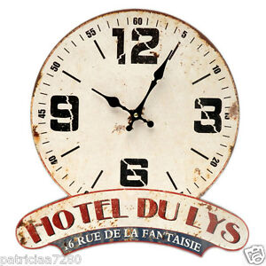 pendule horloge murale hotel du lys fantaisie deco originale retro publicitaire ebay. Black Bedroom Furniture Sets. Home Design Ideas