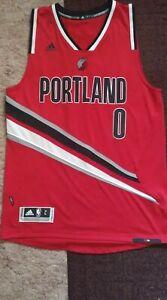 Damian Lillard Blazers Adidas Red Alternate Swingman Jersey Size ...